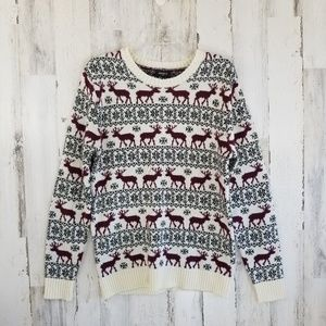 Forever 21 Reindeer Winter Snowflake Sweater